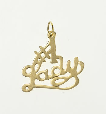 10K #1 Number One Lady Woman Girlfriend Yellow Gold Charm/Pendant