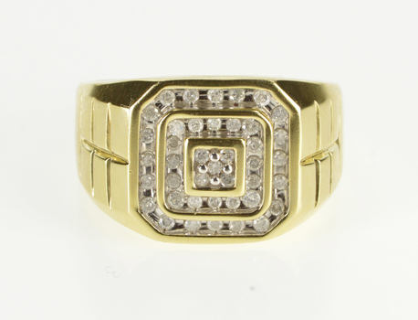 10K 1.00 Ctw Diamond Inset Tiered Squared Men's Yellow Gold Ring, Size 12.25