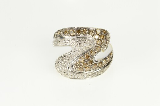 10K 1.00 Ctw Pave White & Brown Diamond Wave White Gold Ring, Size 6