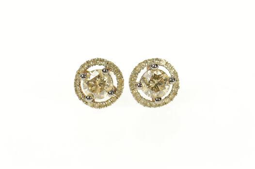 10K 1.01 Ctw Fancy Diamond Halo Classic Stud Rose Gold Earrings