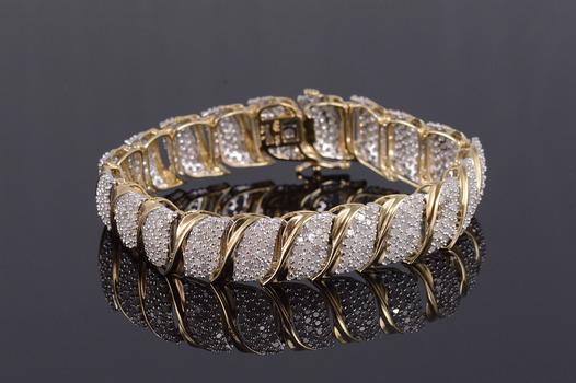 "10K 11.20 Ctw Diamond Pave Cluster Wavy Tennis Yellow Gold Bracelet 7"""