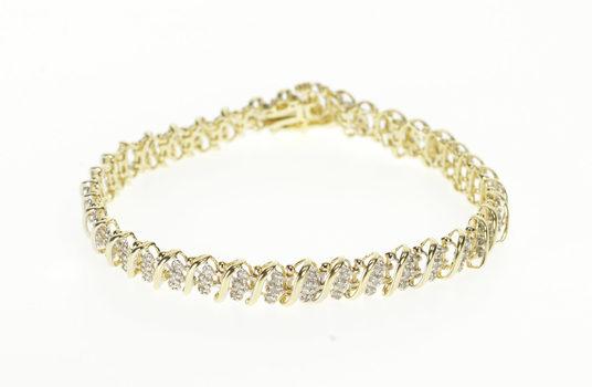 "10K 1.15 Ctw Diamond Stripe Wavy Bar Link Tennis Yellow Gold Bracelet 7"""
