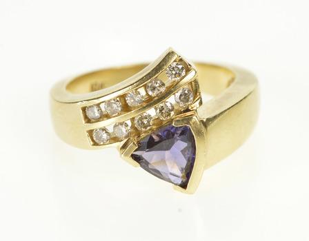 10K 1.15 Ctw Trillion Tanzanite Diamond Engagement Yellow Gold Ring, Size 7.5