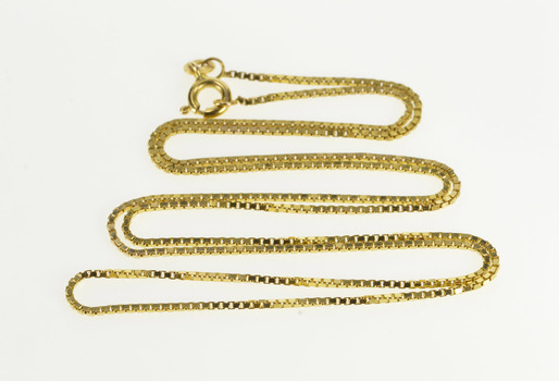 10K 1.1mm Square Box Link Fashion Chain Yellow Gold Necklace 22""