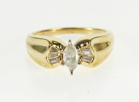 10K 1/2 Ctw Marquise Baguette Diamond Engagement Yellow Gold Ring, Size 6.5