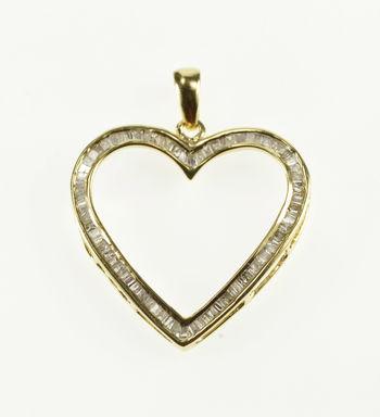 10K 1.25 Ctw Channel Inset Baguette Diamond Heart Yellow Gold Pendant