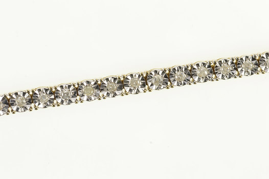 "10K 1.32 Ctw Diamond Square Link Tennis Yellow Gold Bracelet 7"""