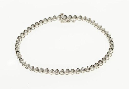 "10K 1.33 Ctw Diamond Classic Encrusted Tennis White Gold Bracelet 7.25"""