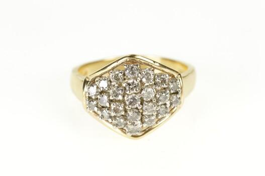 10K 1.38 Ctw Round Diamond Cluster Statement Yellow Gold Ring, Size 11.25