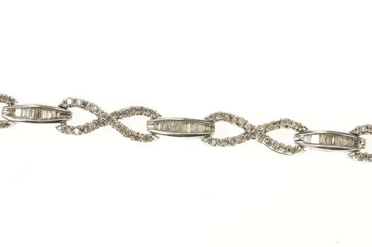 "10K 1.42 Ctw Diamond Infinity Bar Link Tennis White Gold Bracelet 7"""