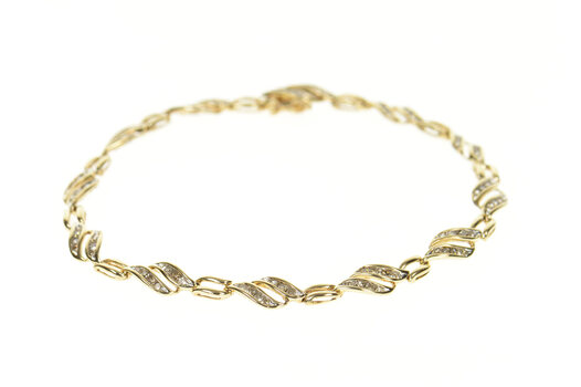 10K 1.44 Ctw Diamond Wavy Channel Tennis Yellow Gold Bracelet 8.5""