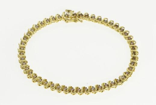 "10K 1.50 Ctw Diamond Encrusted Wavy Link Tennis Yellow Gold Bracelet 7"""
