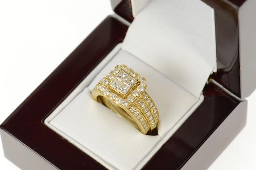 10K 1.50 Ctw Diamond Princess Bridal Set Engagement Yellow Gold Ring, Size 7