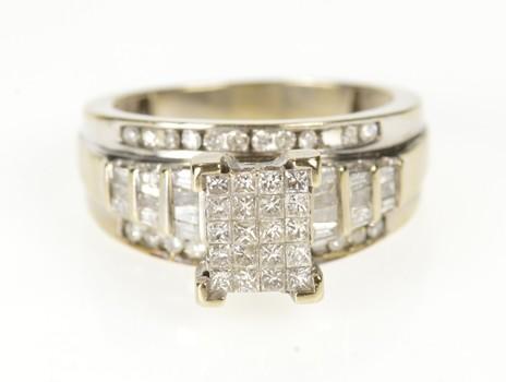 10K 1.64 Ctw Princess Cluster Diamond Engagement White Gold Ring, Size 7.75