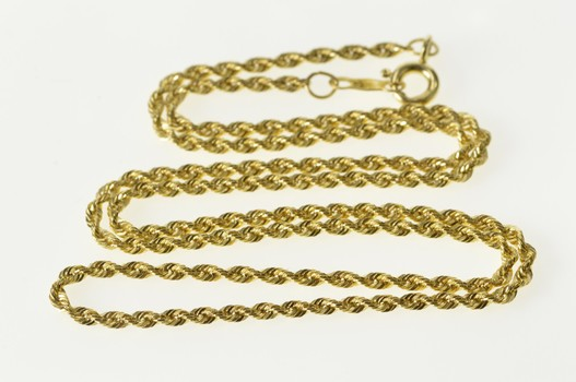 10K 1.7mm Rope Chain Spiral Twist Link Chain Yellow Gold Necklace 15.75""