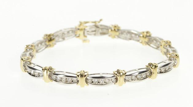 "10K 1.80 Ctw Diamond Two Tone Channel Tennis Yellow Gold Bracelet 7"""