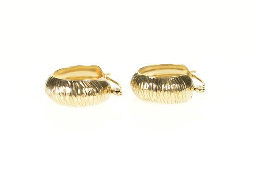 10K 18.4mm Grooved Zebra Pattern Rounded Hoop Yellow Gold Earrings