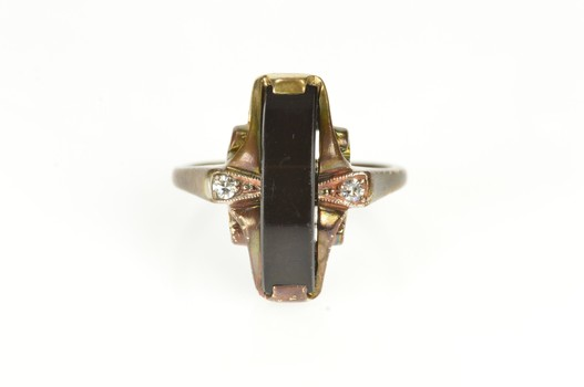 10K 1930's Black Onyx Diamond Accent Statement Yellow Gold Ring, Size 4.75