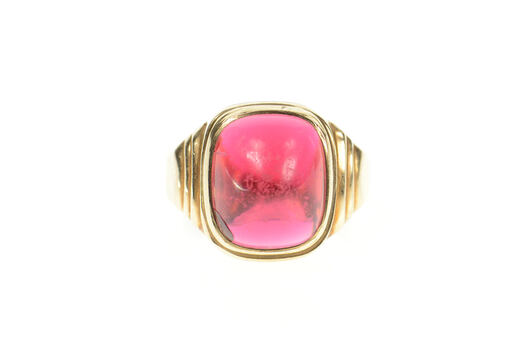10K 1930's Men's Syn. Ruby Cabochon Statement Yellow Gold Ring, Size 9.75