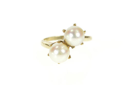 10K 1930's Ornate Pearl Bypass Statement Yellow Gold Ring, Size 7