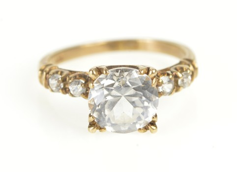 10K 1930's Simple Travel Engagement Cocktail Yellow Gold Ring, Size 5.75