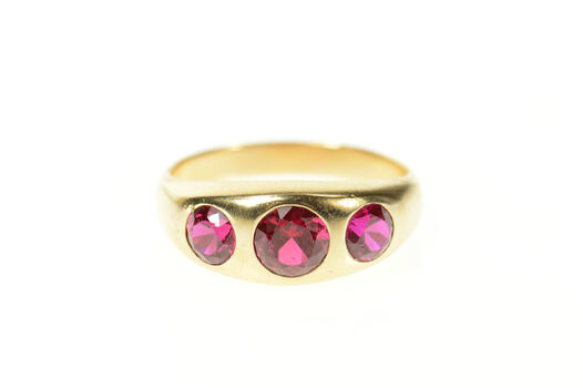 10K 1930's Three Stone Syn. Ruby Statement Yellow Gold Ring, Size 8.75