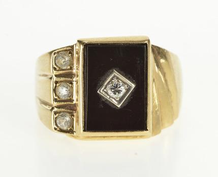 10K 1940's Black Onyx Diamond CZ Men's Fashion Yellow Gold Ring, Size 10