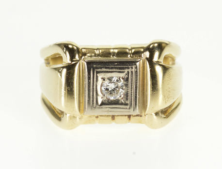 10K 1940's Graduated Diamond Inset Squared Design Yellow Gold Ring, Size 7.25