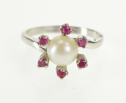 10K 1940's Retro Pearl Syn. Ruby Cocktail White Gold Ring, Size 5
