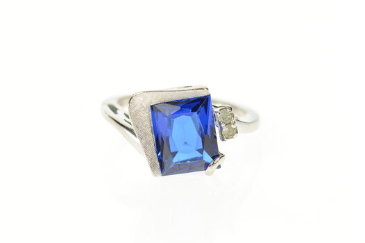 10K 1950's Emerald Syn. Sapphire CZ Freeform White Gold Ring, Size 6.75