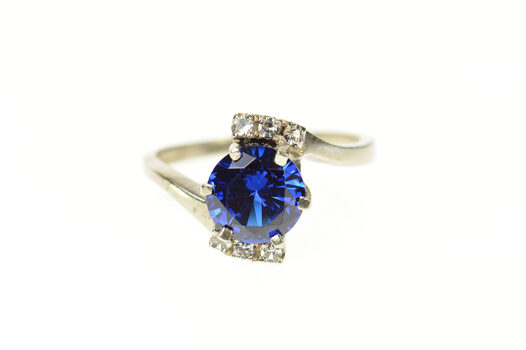 10K 1950's Round Syn. Sapphire Diamond Bypass White Gold Ring, Size 6.75