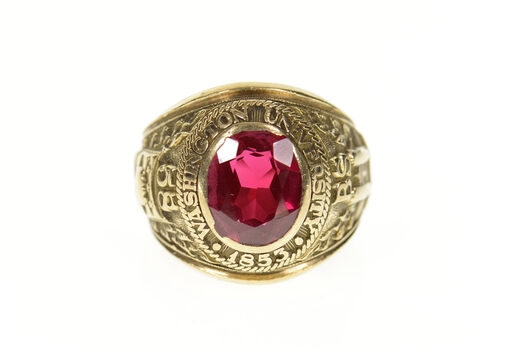 10K 1958 Washington University Ornate Men's Class Yellow Gold Ring, Size 8.5