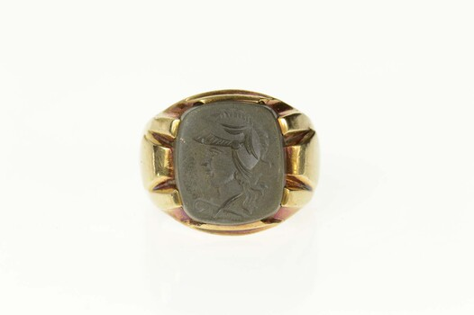 10K 1960's Carved Hematite Intaglio Men's Yellow Gold Ring, Size 9.25