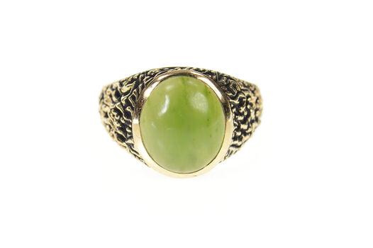 10K 1960's Men's Nephrite Jade Textured Bark Yellow Gold Ring, Size 10.75