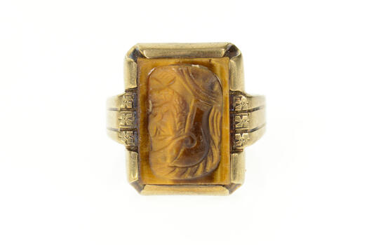 10K 1960's Men's Tiger's Eye Soldier Cameo Yellow Gold Ring, Size 10.25