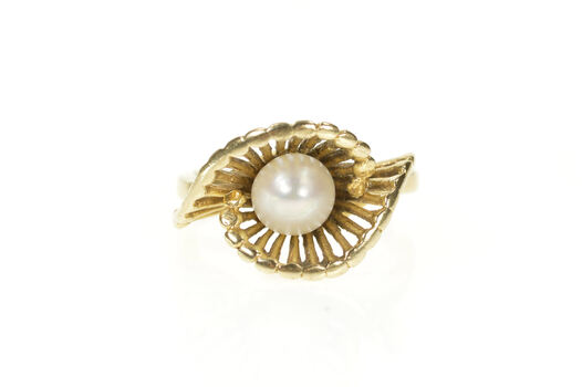 10K 1960's Pearl Swirl Retro Bypass Bar Lattice Yellow Gold Ring, Size 5.75