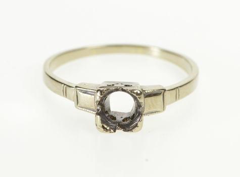 10K 1960's Retro 5.7mm Engagement Setting Mount White Gold Ring, Size 7.5