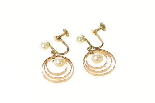 10K 1960's Retro Dangle Circle Pearl Screw Back Yellow Gold Earrings