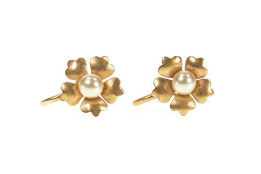 10K 1960's Retro Flower Pearl Inset Screw Back Yellow Gold Earrings