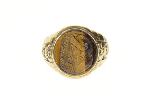 10K 1960's Tiger's Eye Intaglio Floral Men's Yellow Gold Ring, Size 11.25