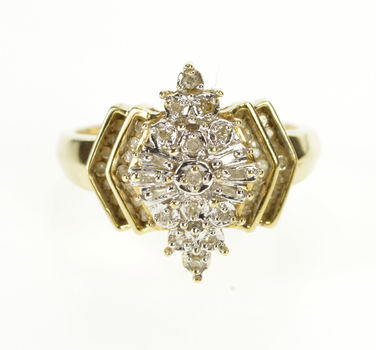 10K 1980's Diamond Pointed Bling Fashion Cluster Yellow Gold Ring, Size 9.25