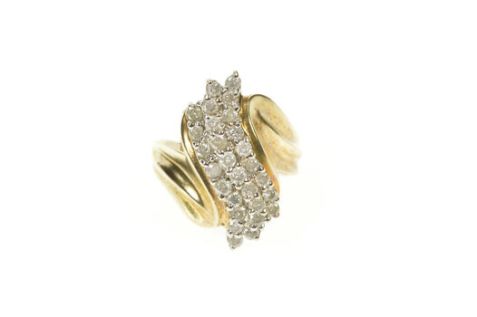 10K 2.24 Ctw Diamond Cluster Statement Cocktail Yellow Gold Ring, Size 7.25