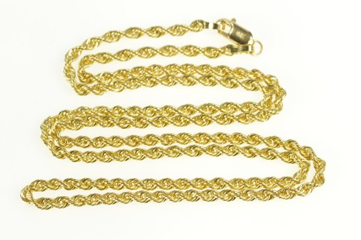 10K 2.2mm Thick Classic Rope Link Yellow Gold Necklace 17.75""