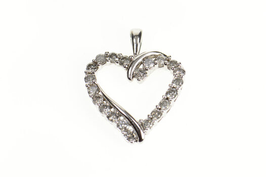 10K 2/3 Ct Diamond Classic Simple Heart White Gold Pendant