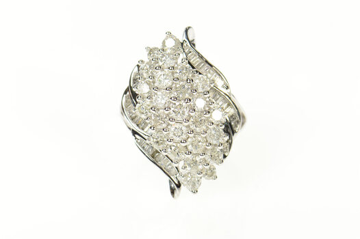 10K 2.30 Ctw Wavy Diamond Cluster Bypass Statement White Gold Ring, Size 7