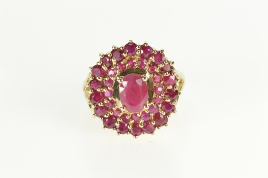 10K 2.31 Ctw Oval Ruby Encrusted Halo Cocktail Yellow Gold Ring, Size 6
