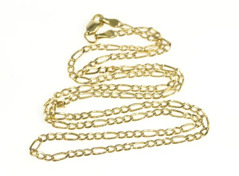 10K 2.3mm Figaro Classic Simple Chain Link Yellow Gold Necklace 19.25""
