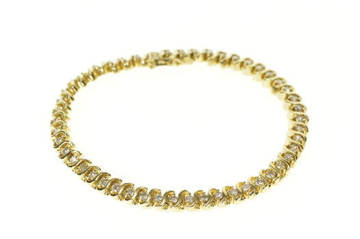 "10K 2.40 Ctw Wavy Link Diamond Classic Tennis Yellow Gold Bracelet 7"""