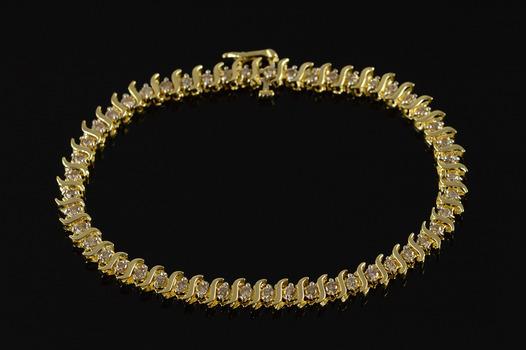"10K 2.50 CTW Cognac Diamond Tennis Yellow Gold Bracelet 7"""