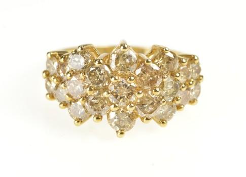 10K 2.61 Ctw Light Brown Diamond Cluster Fashion Yellow Gold Ring, Size 7